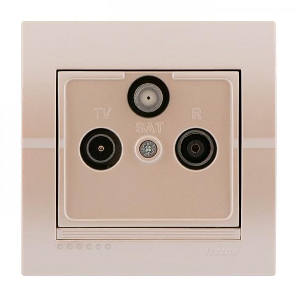 ТВ-Радио Спутниковая розетка проходная, жемчужно-белый металлик, Deriy фото, цена