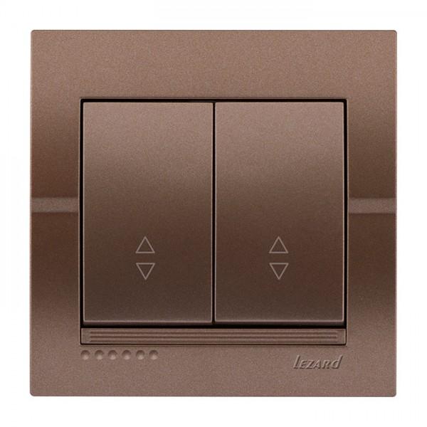 Выключатель проходной двойной, светло-коричневый металлик, Deriy фото, цена