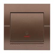 Выключатели Кнопка звонка с подсветкой, светло-коричневый металлик, Deriy фото, цена