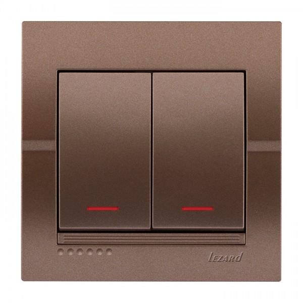 Выключатель двойной с подсветкой, светло-коричневый металлик, Deriy фото, цена