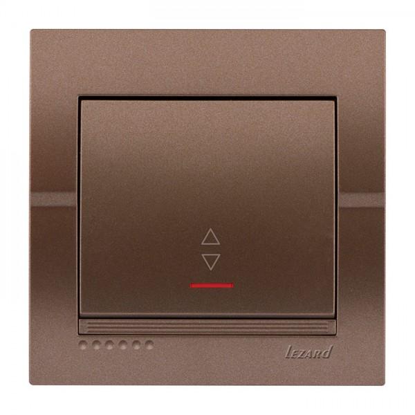 Выключатель проходной с подсветкой, светло-коричневый металлик, Deriy фото, цена