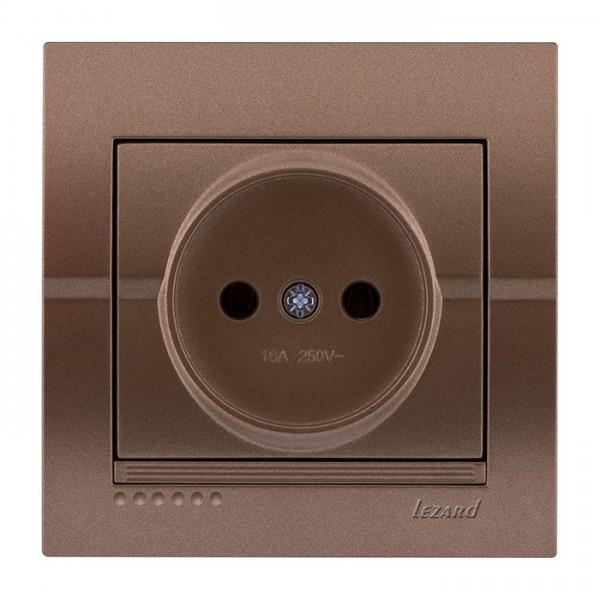 Розетка б/з - FireProof Бакелит, светло-коричневый металлик, Deriy фото, цена