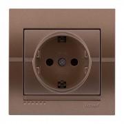 Розетки Розетка с/з - FireProof Бакелит, светло-коричневый металлик, Deriy фото, цена