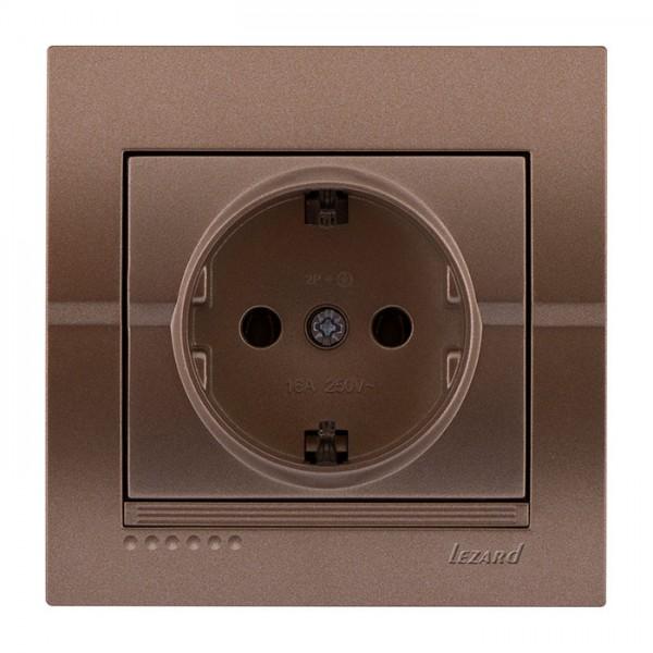 Розетка с/з - FireProof Бакелит, светло-коричневый металлик, Deriy фото, цена
