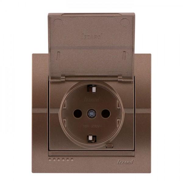 Розетка с/з с крышкой - FireProof Бакелит, светло-коричневый металлик, Deriy фото, цена