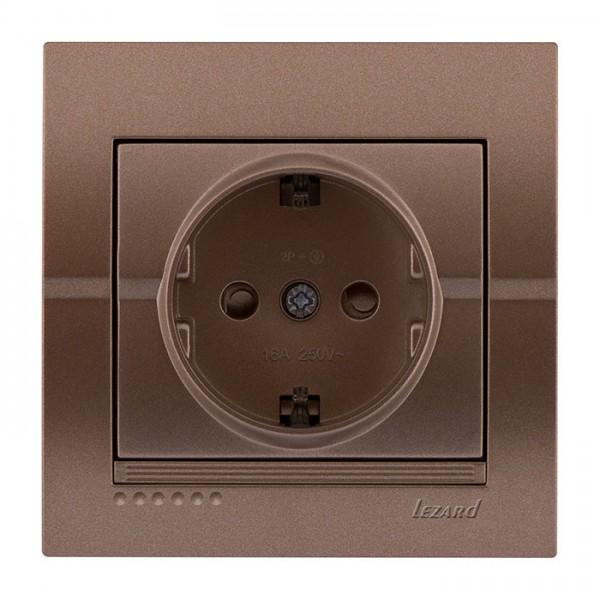 Розетка с защитой от детей - FireProof Бакелит, светло-коричневый металлик, Deriy фото, цена