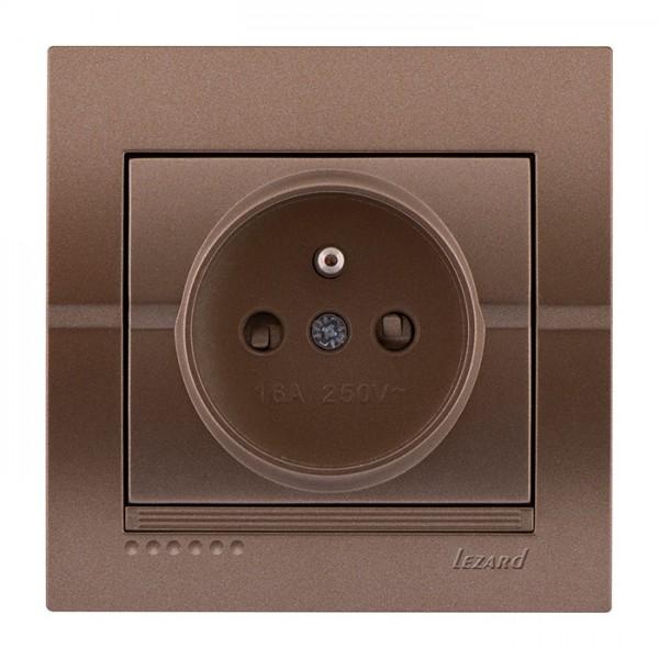 Розетка с\з французского типа, светло-коричневый металлик, Deriy фото, цена