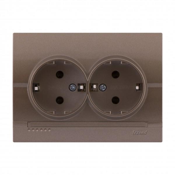 Розетка двойная с/з,  светло-коричневый металлик, Deriy фото, цена