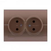 Розетки Розетка двойная б/з, светло-коричневый металлик, Deriy фото, цена