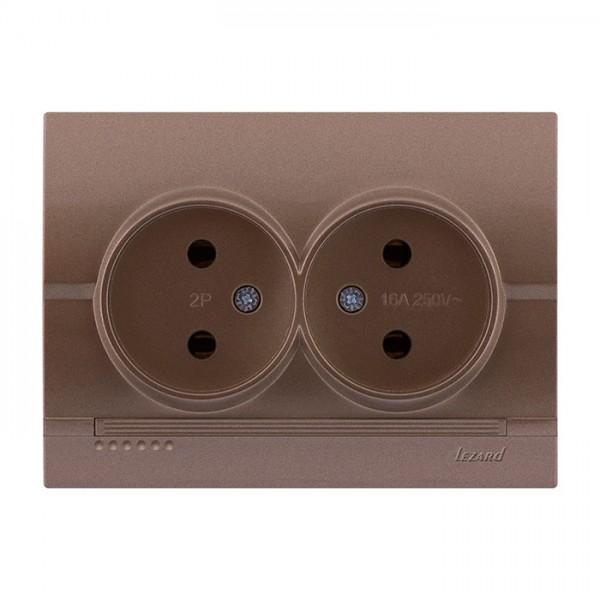 Розетка двойная б/з, светло-коричневый металлик, Deriy фото, цена