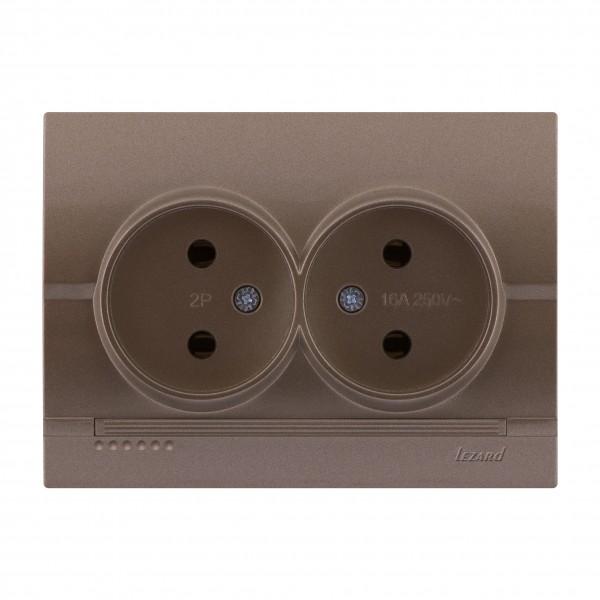Розетка двойная б/з - FireProof Бакелит, светло-коричневый металлик, Deriy фото, цена