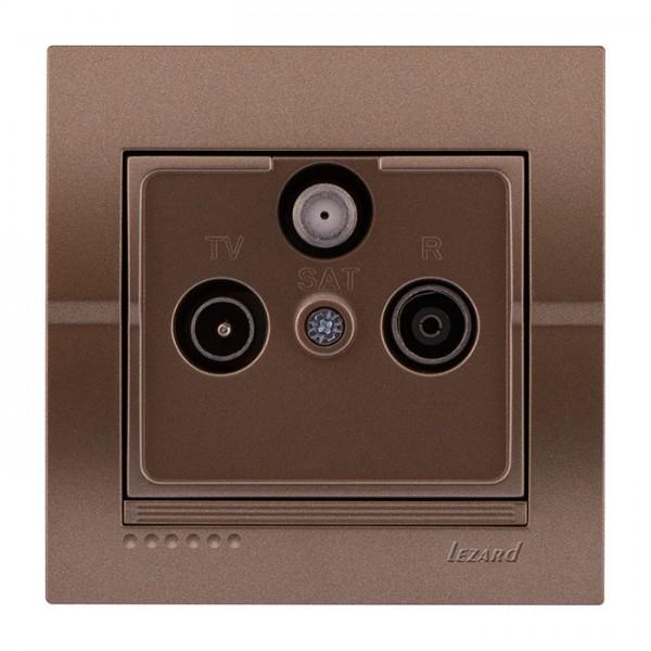ТВ-Радио спутниковая розетка оконечная, светло-коричневый металлик, Deriy фото, цена