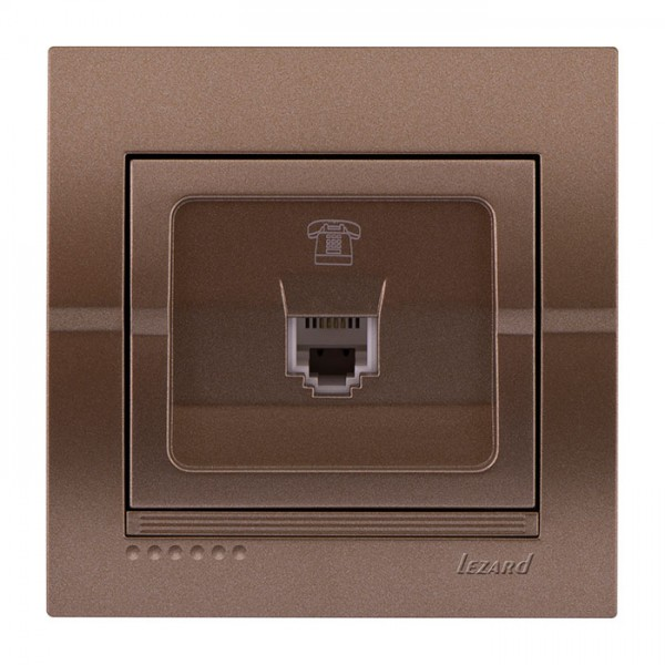 Розетка телефонная евро, светло-коричневый металлик, Deriy фото, цена