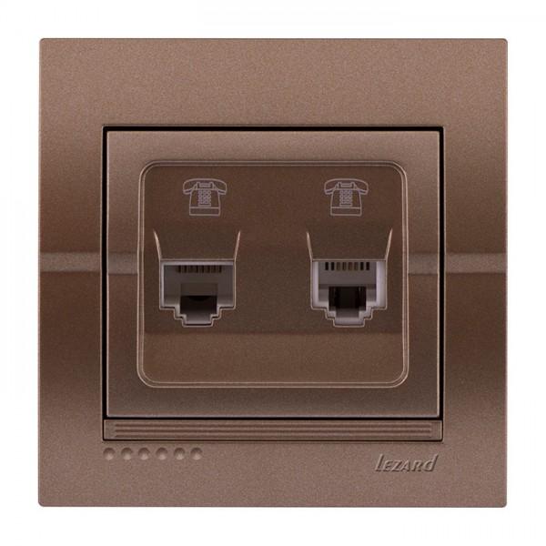 Розетка телефонная двойная евро, светло-коричневый металлик, Deriy фото, цена