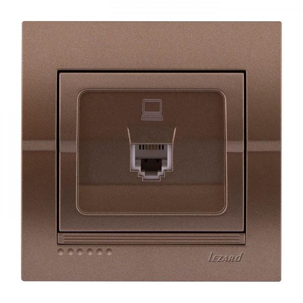 Розетка компьютерная, светло-коричневый металлик, Deriy фото, цена
