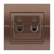 Розетки Розетка компьютерная двойная, светло-серый металлик, Deriy фото, цена