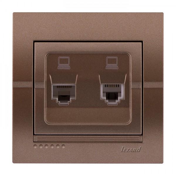 Розетка компьютерная двойная, светло-серый металлик, Deriy фото, цена