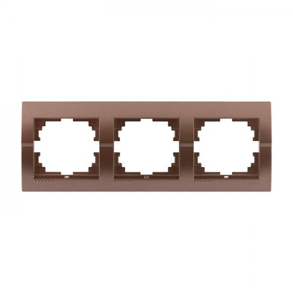 Рамка 3-ая горизонтальная б/вст, светло-коричневый металлик, Deriy фото, цена