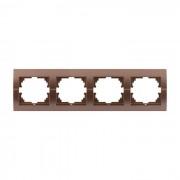 Рамки для розеток Рамка 4-ая горизонтальная б/вст, светло-коричневый металлик, Deriy фото, цена
