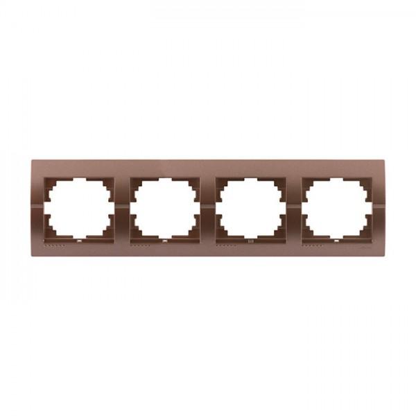 Рамка 4-ая горизонтальная б/вст, светло-коричневый металлик, Deriy фото, цена