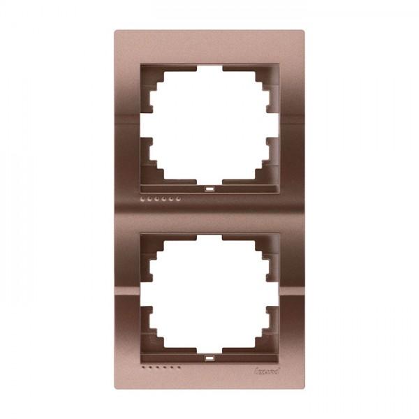 Рамка 2-ая вертикальная б/вст, светло-коричневый металлик, Deriy фото, цена