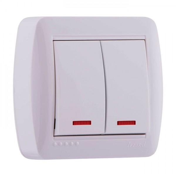 Выключатель двойной с подсветкой, белый, Demet фото, цена