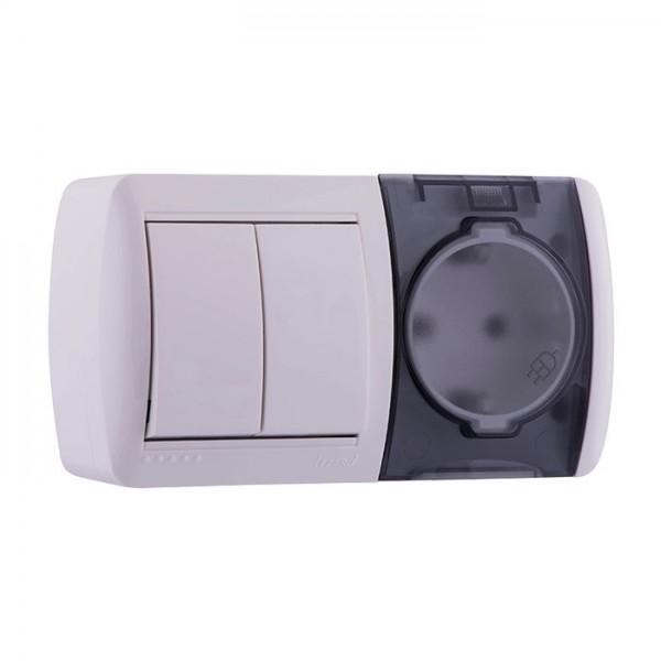 Выключатель 2-х клавишный и розетка с заземлением, Demet фото, цена