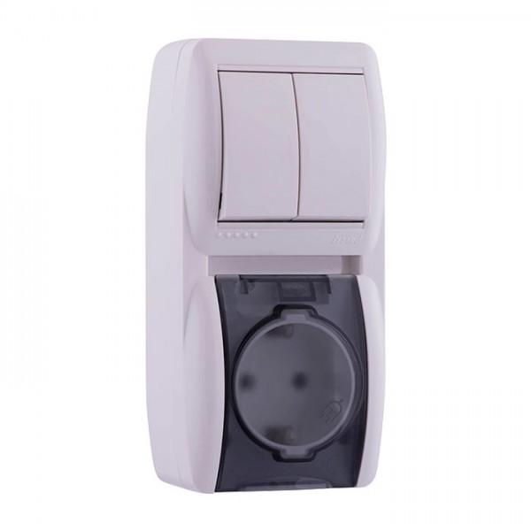 Выключатель 2-х клавишный и розетка с заземлением, белый, Demet фото, цена