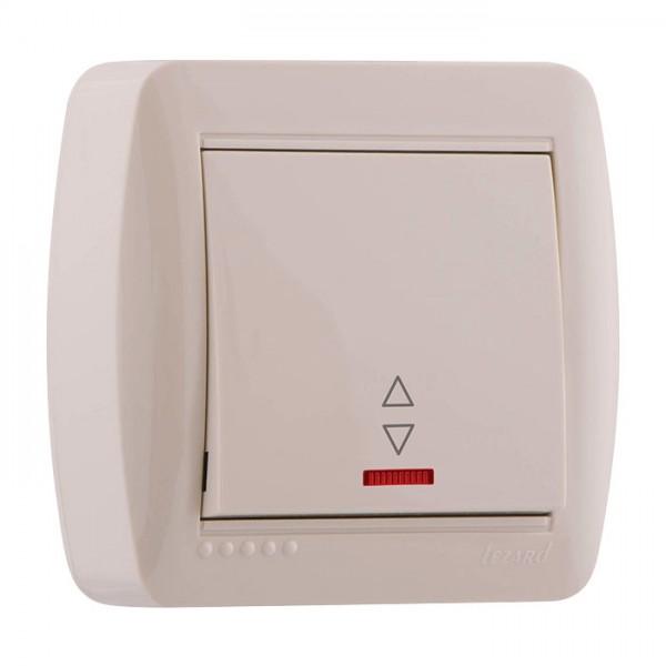 Выключатель проходной с подсветкой, крем, Demet фото, цена