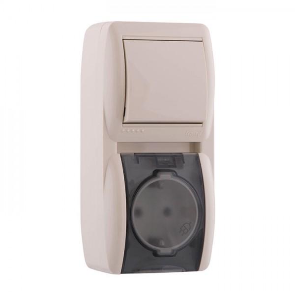 Выключатель и розетка с заземлением с крышкой, крем, Demet фото, цена