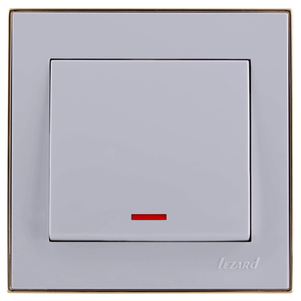 Выключатель с подсветкой белый/золото Rain фото, цена