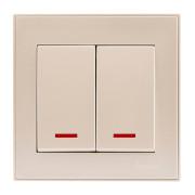 Выключатели Выключатель двойной с подсветкой жемчужно-белый Rain фото, цена