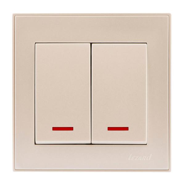 Выключатель двойной с подсветкой жемчужно-белый Rain фото, цена