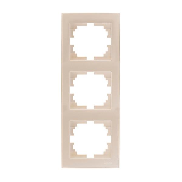 Рамка 3-ая вертикальная б/вст жемчужно-белый Rain фото, цена