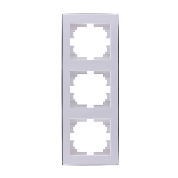 Рамка 3-ая вертикальная б/вст белый/хром Rain фото, цена