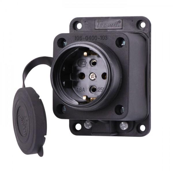 Розетка зовнішня пряма з заглушкою каучук IP44 фото, цена