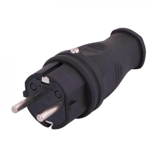 Вилка однофазная с заземлением каучук IP44 фото, цена