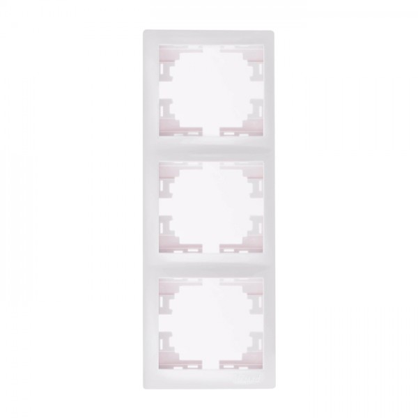 Рамка 3-ая вертикальная б/вст, белый, Mira фото, цена