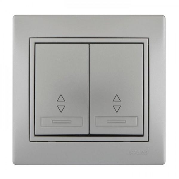 Выключатель проходной двойной, серый металлик, Mira фото, цена