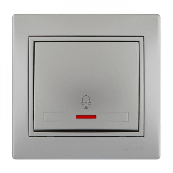 Кнопка звонка с подсветкой, серый металлик, Mira фото, цена