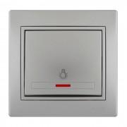 Выключатели Выключатель проходной с подсветкой, серый металлик, Mira фото, цена