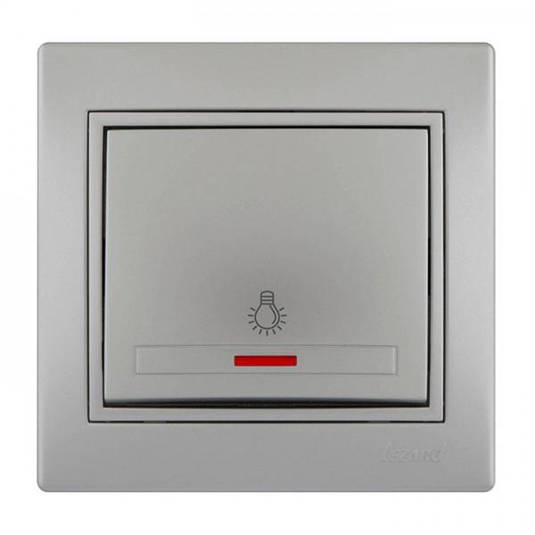 Выключатель проходной с подсветкой, серый металлик, Mira фото, цена