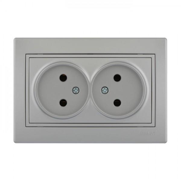 Розетка двойная б/з - FireProof Бакелит, серый металлик, Mira фото, цена