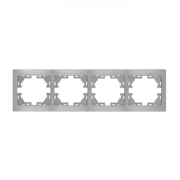 Рамка 4-ая горизонтальная б/вст, серый металлик, Mira фото, цена