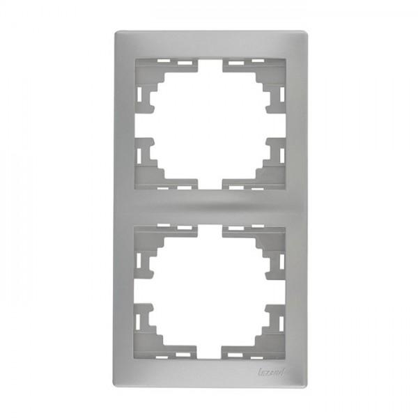 Рамка 2-ая вертикальная б/вст, серый металлик, Mira фото, цена