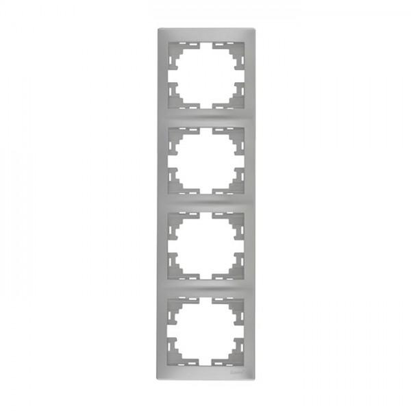 Рамка 4-ая вертикальная б/вст, серый металлик, Mira фото, цена