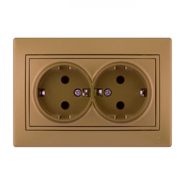 Розетка двойная с/з - FireProof Бакелит, матовое золото металлик, Mira фото, цена