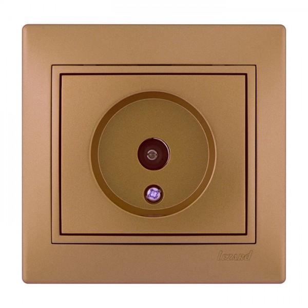 Розетка ТВ прохідна, матове золото металік, Mira фото, цена