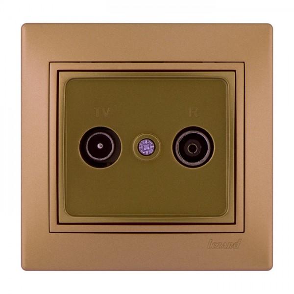 ТВ-радіо розетка прохідна, матове золото металік, Mira фото, цена