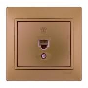 Розетки Розетка телефонная евро, матовое золото металлик, Mira фото, цена